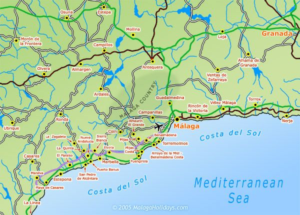 Map Of Spain Showing Malaga.Where Is Costa Del Sol Costa Del Sol Malaga Spain Information