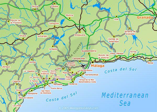 Map Of Spain Malaga.Where Is Costa Del Sol Costa Del Sol Malaga Spain