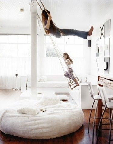 This blog is seriously amazing. Has everything from styling yourself to your home and them some! Beautiful pictures, awsome recipies and just really neat things; like these indoor swings!!