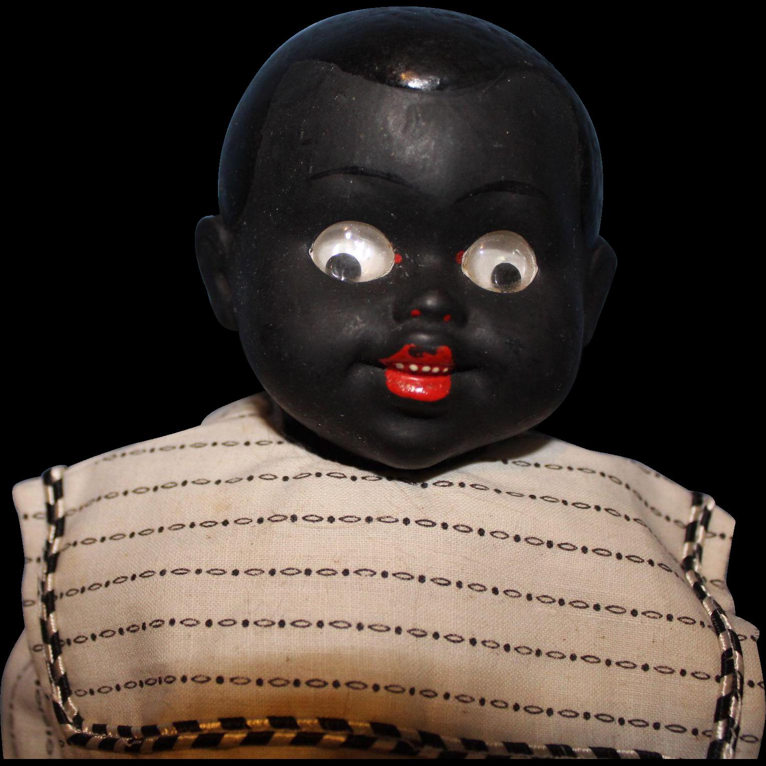 Rare Black Living Steiner Eye Googly from sarabernsteindolls on Ruby Lane
