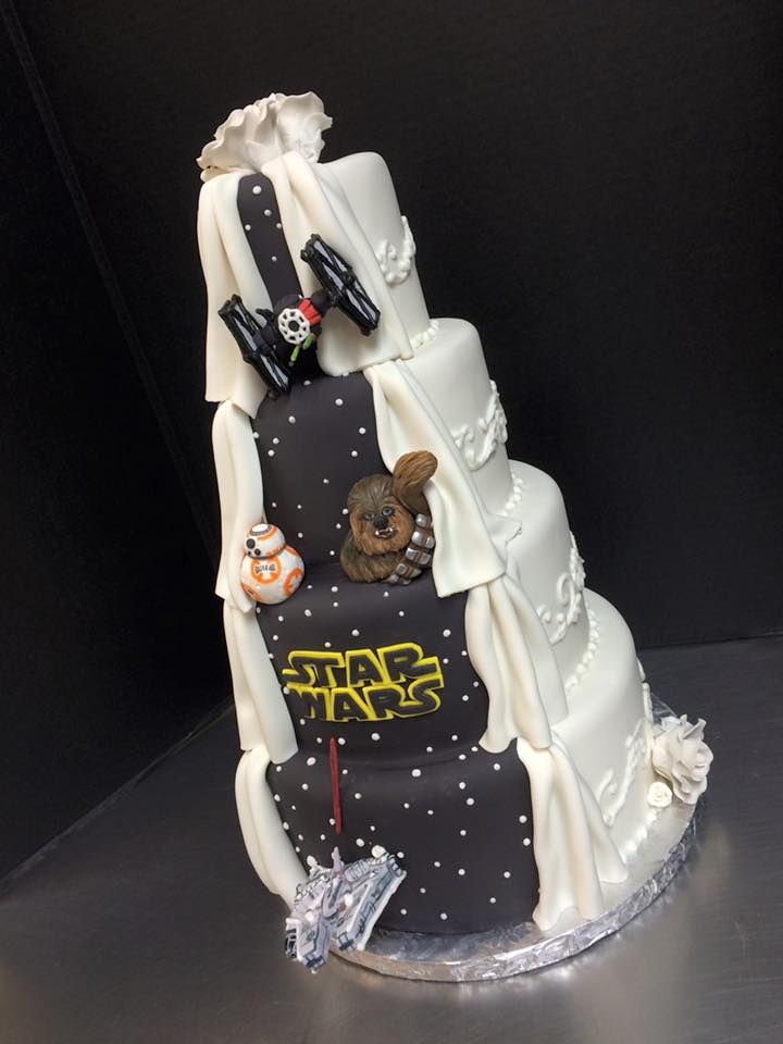 Star Wars Peek A Boo Tiered Wedding Cake By Tasty Layers Custom Cakes Star Wars Wedding Tiered Wedding Cake Cake