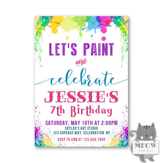Kids paint party invitations 7th birthday party meowmediasy kids paint party invitations 7th birthday party stopboris Images