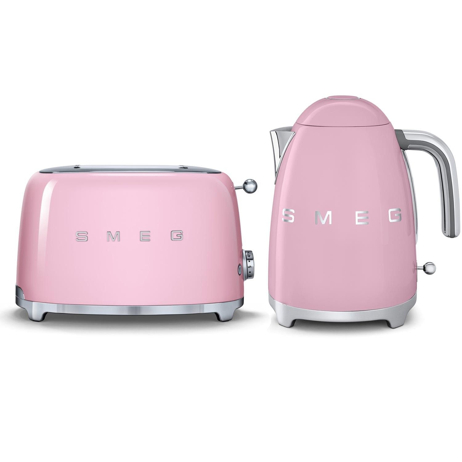 Pink Smeg toaster and kettle set in