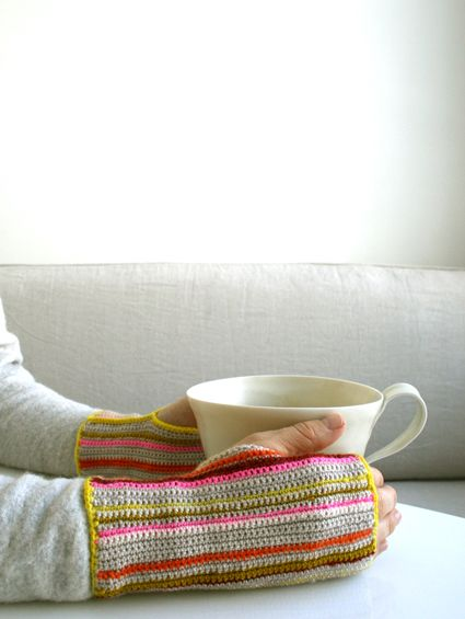 Whit's Knits: Crocheted Striped HandWarmers