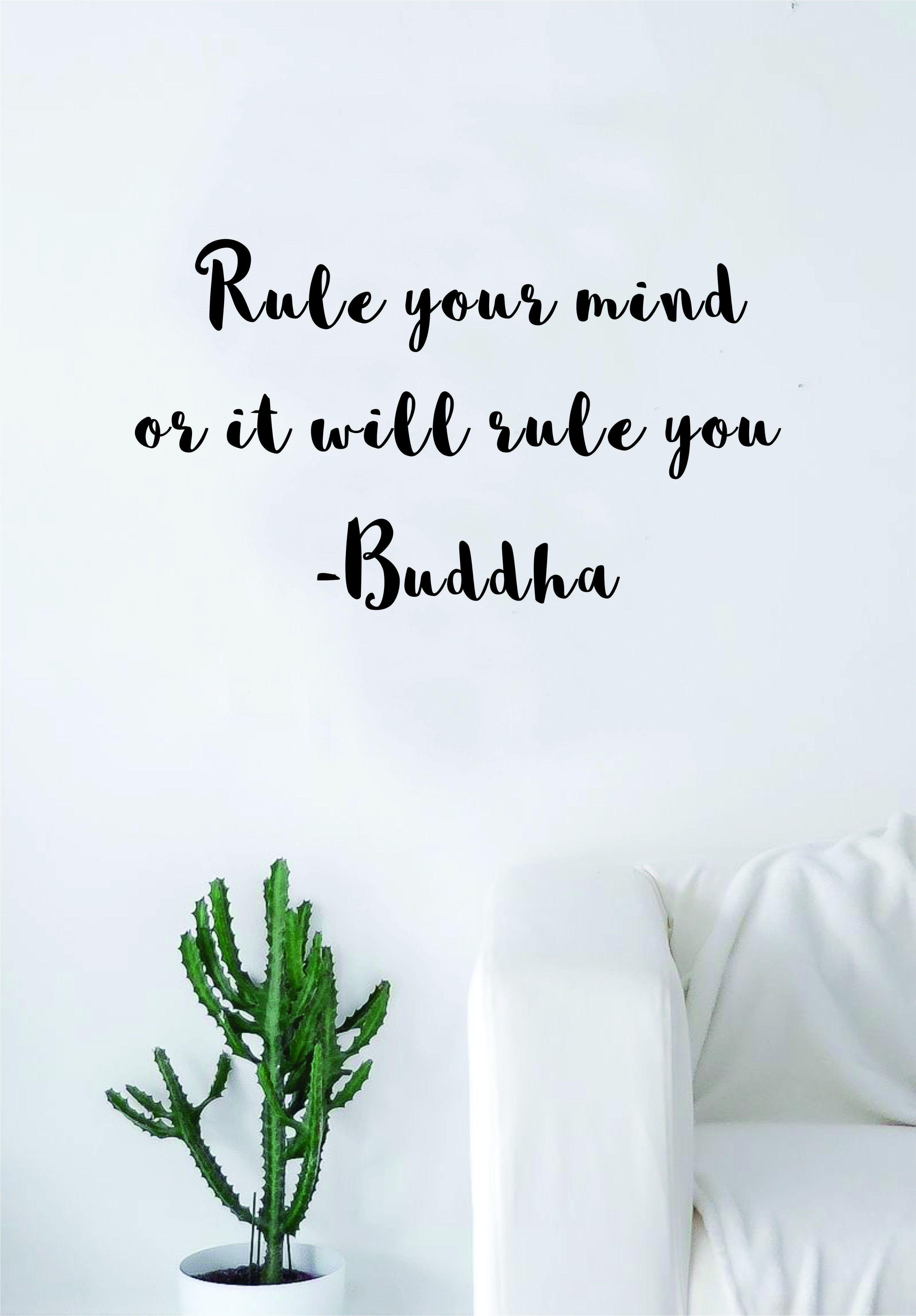 Rule Your Mind Wall Decal Sticker Room Art Vinyl Beautiful Yoga Hamsa Namaste Lotus Meditate Buddha Peaceful Love Inspirational - gold