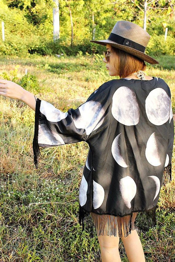 Moon Phases Fringe Kimono, Boho Kimono, Hippie Clothes, Boho Jacket, Bohemian Cardigan,Summer Beach Cover up, Festival Clothing