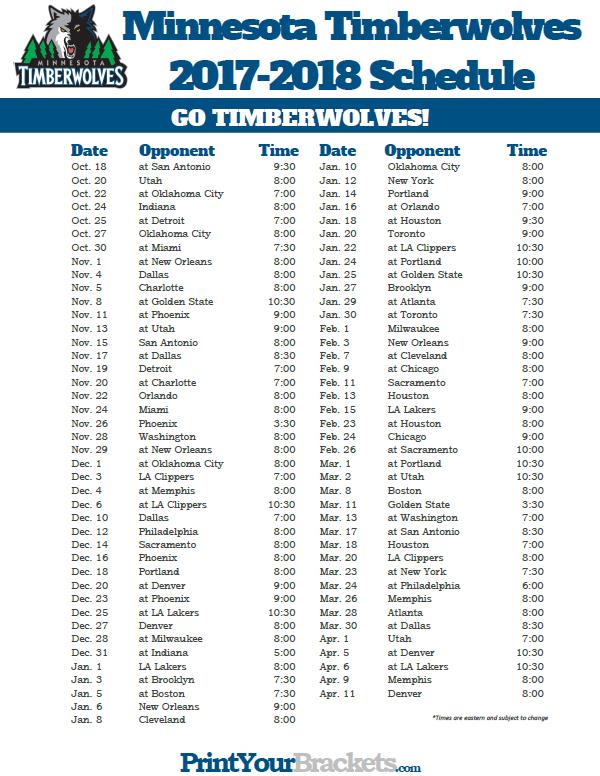 image relating to Utah Jazz Schedule Printable identify 2017-2018 Minnesota Timberwolves Timetable Printable NBA
