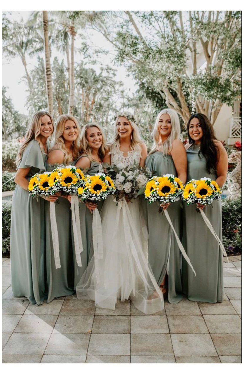Sage Bridesmaid Dresses With Sunflowers Sunflower Wedding Bridesmaid Dresses Sunflower Sage Bridesmaid Dresses Wedding Bridesmaids Sunflower Themed Wedding [ 1272 x 831 Pixel ]