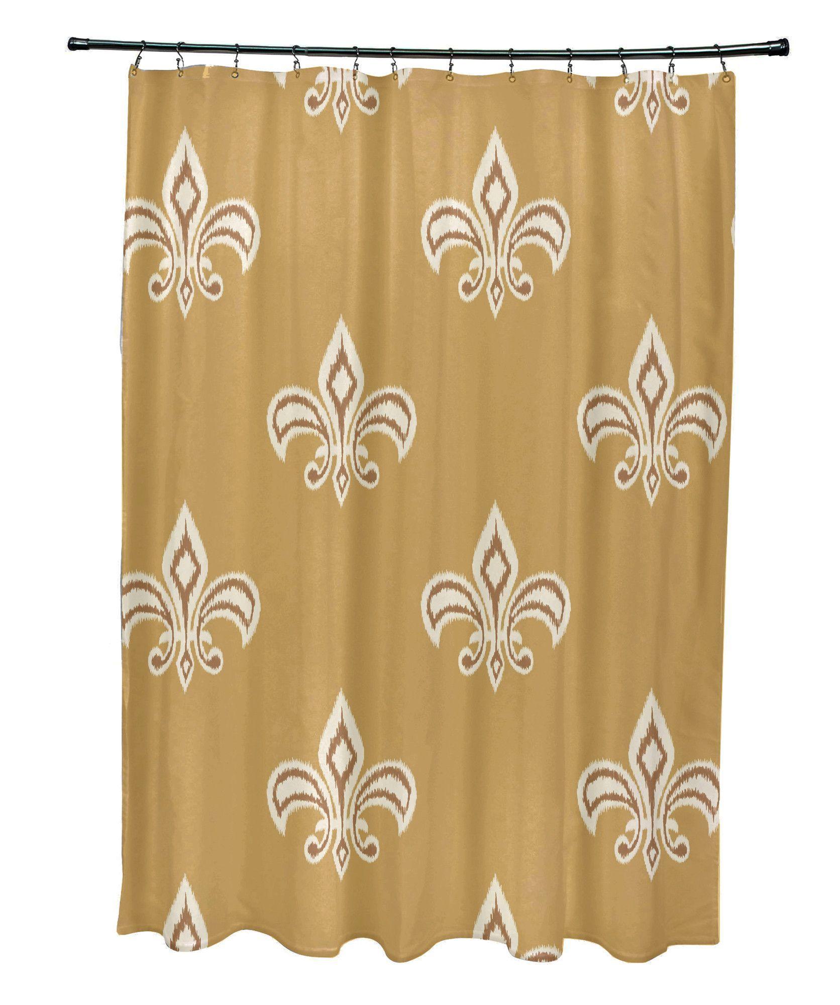 Cannes Fleur De Lis Ikat Print Shower Curtain Printed Shower
