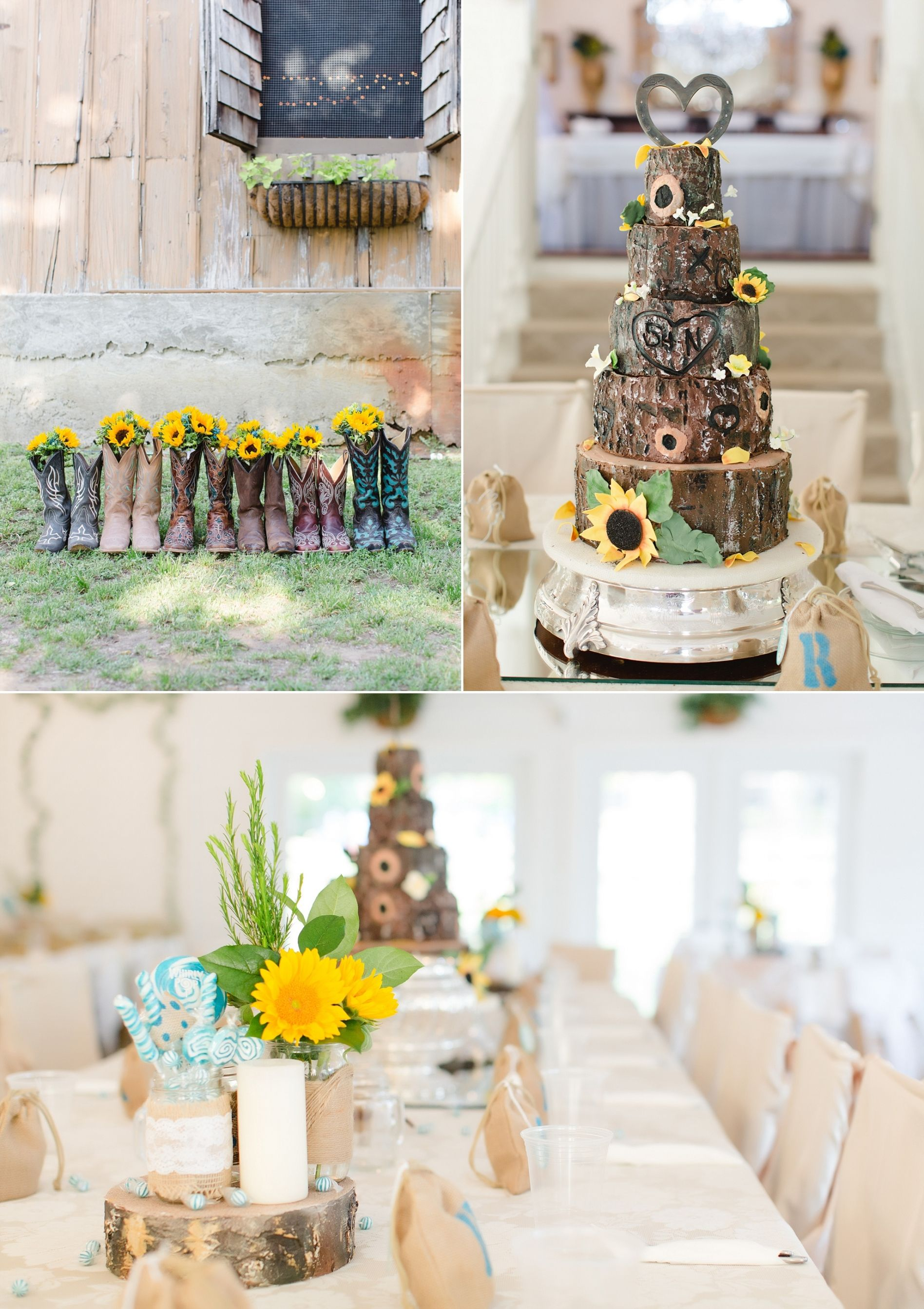 Rustic Weddings, Teal and yellow wedding. Rustic wedding cake ...