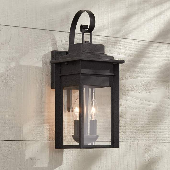 Bransford 17 high black speckled gray outdoor wall light outdoor bransford 17 high black iron outdoor wall light 8m880 lamps plus mozeypictures Image collections