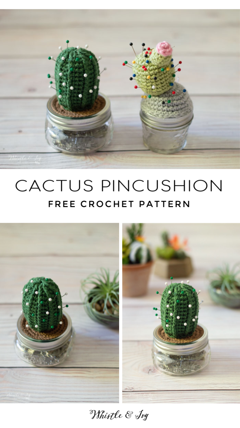 Crochet Cactus Pincushion - Free Crochet Pattern - Whistle and Ivy