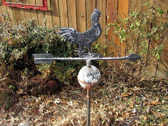 Antique Cast Iron Rooster Weathervane by VintageLoversShop on Etsy
