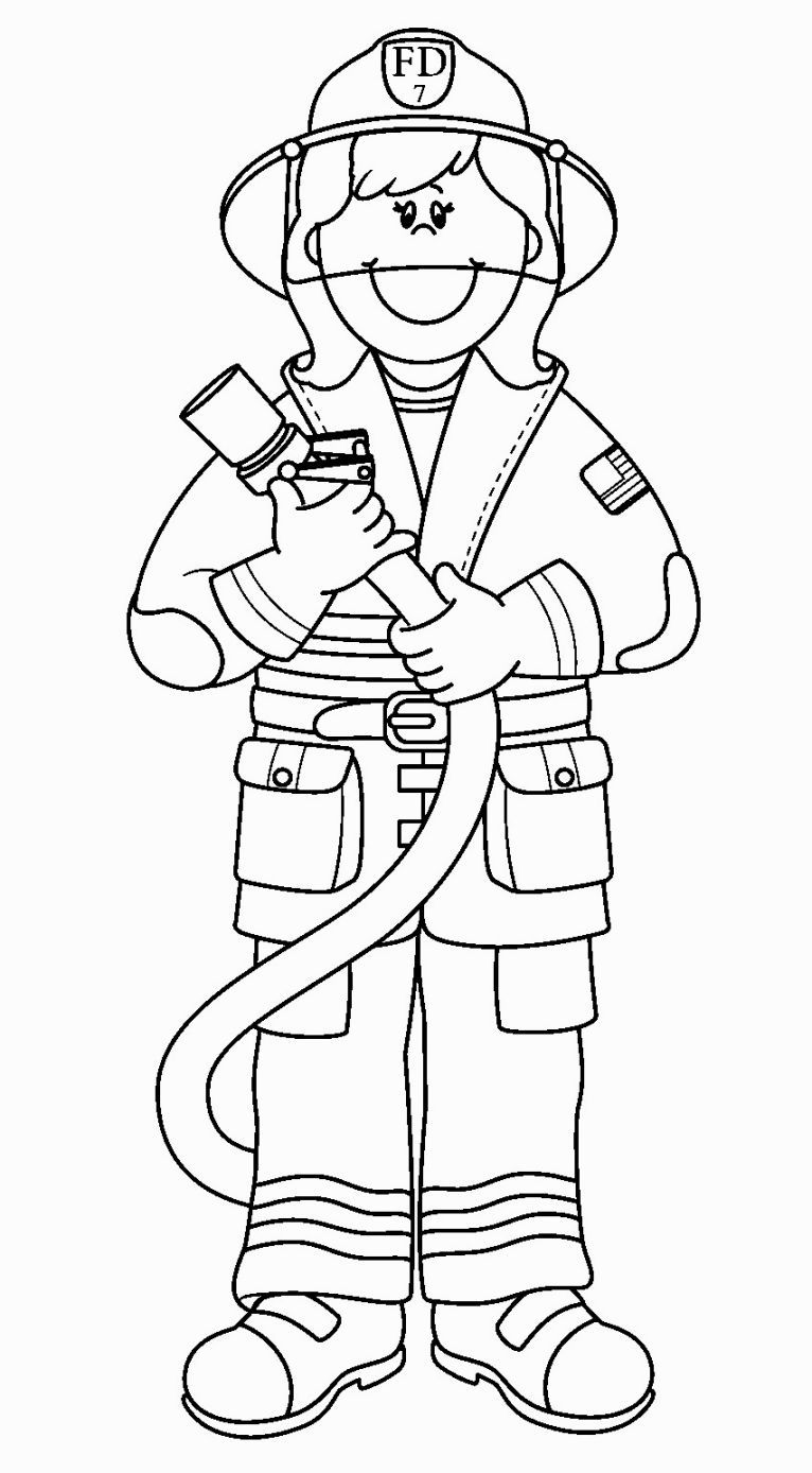 Fire Fighter Coloring Page | Coloring Pages | Pinterest | Fire fighters
