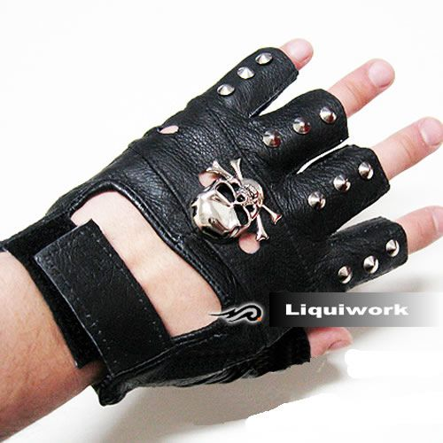 Leather Fingerless Gothic Gloves Halloween Goth Punk Emo Driving Cycling Biking