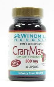 CRAN MAX CRANBERRY CAP WMILL Size: 30 by WINDMILL. $8.58. It is made through a proprietary process that intensifies the natural benefits of the whole cranberry, without the use of any solvents, preservatives, sugars, water, flavorings or colour.. A unique delivery system that protects its cranberry constituents from degradation. Antioxidants.. Cran-Max Cranberry Supplement is more powerful and works faster in treating UTIs than any other cranberry product, with no ...