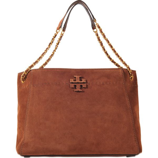 0c642ef9bd8 Tory Burch Mcgraw Suede Chain Slouchy Tote ( 498) ❤ liked on Polyvore  featuring bags