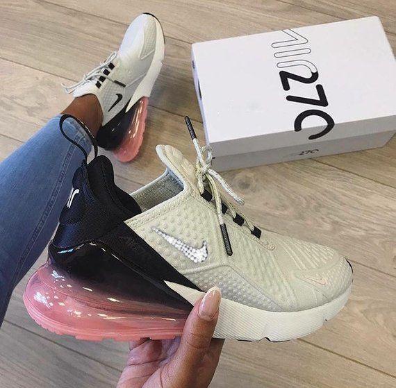 Nike Air Max 270 SE+ Hand Customized Swarovski Crystals - Light Bone ... dec47b88ab