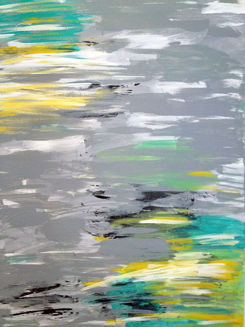 Abstract Art Canvas Painting Gray Yellow Teal Black White Canvas