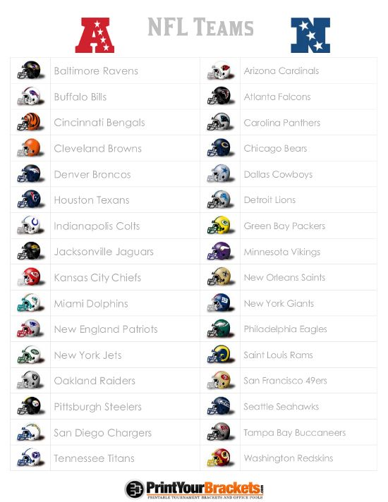 List Of Nfl Teams Printable List Of Nfl Teams Nfl Teams All Nfl Teams
