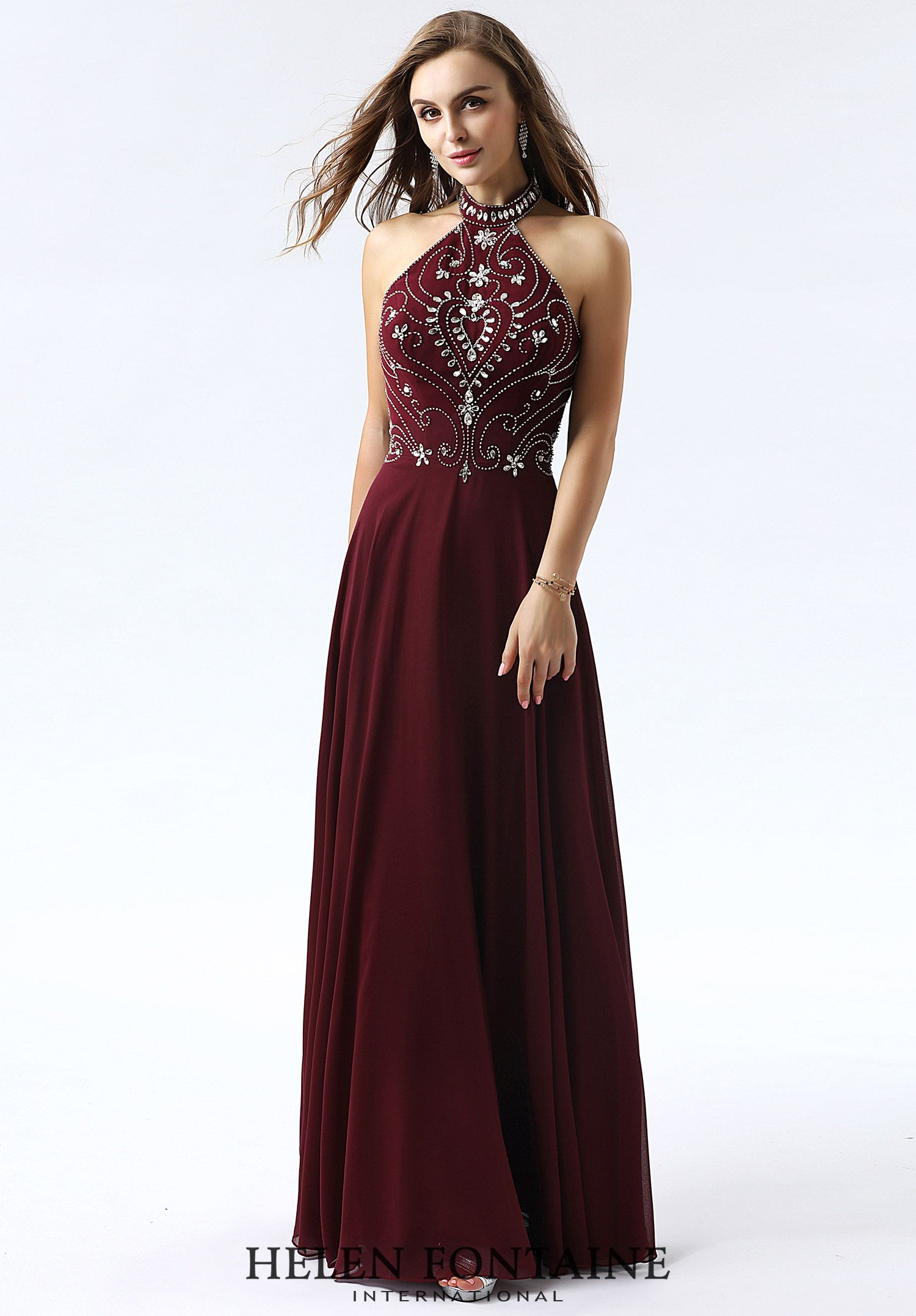 Vogue halter flowy sparkling top chiffon floor length dressstyle