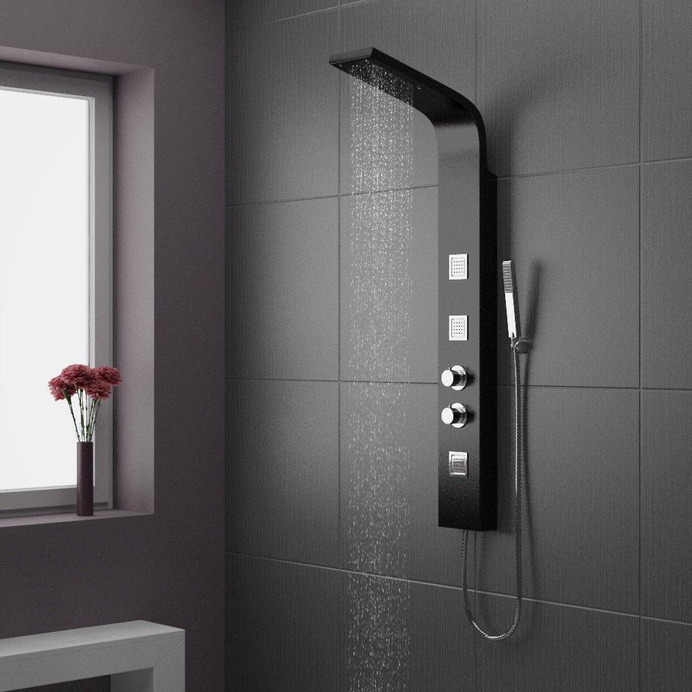 Black Shower Panel Deluxe Maverick Tower Shower | bathroom ...