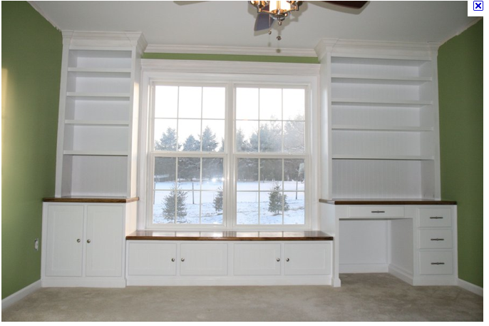 Built In Bookshelves With Desk Around Window Could Be A