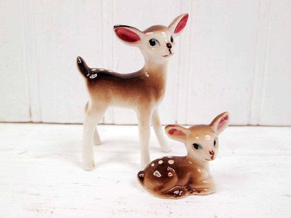 Vintage Miniature Deer Fawn Ceramic Figurine Set Retro. $7.95, via Etsy.