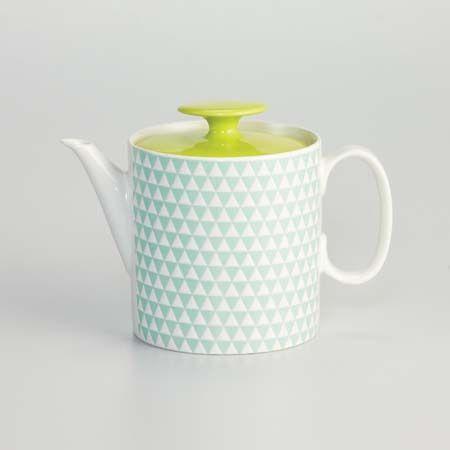 Porcelain Teapot Prism Blue Green Theiere Mettre La Table