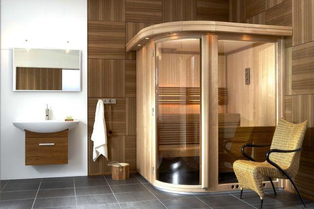 sauna-bad-planen-ecke-aufstellen-wandfliesen-holzoptik | Möbel zum on bad nursing homes, bad architecture photography, bad architecture design,