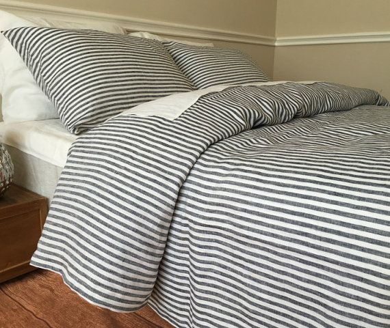 Slate Gray And White Striped Duvet Cover Striped Linen