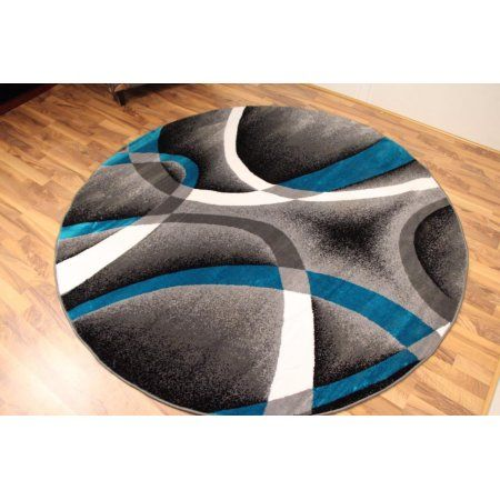 Persian Rugs 2305 Turquoise 6 Foot Round Modern Abstract Area Rug Blue