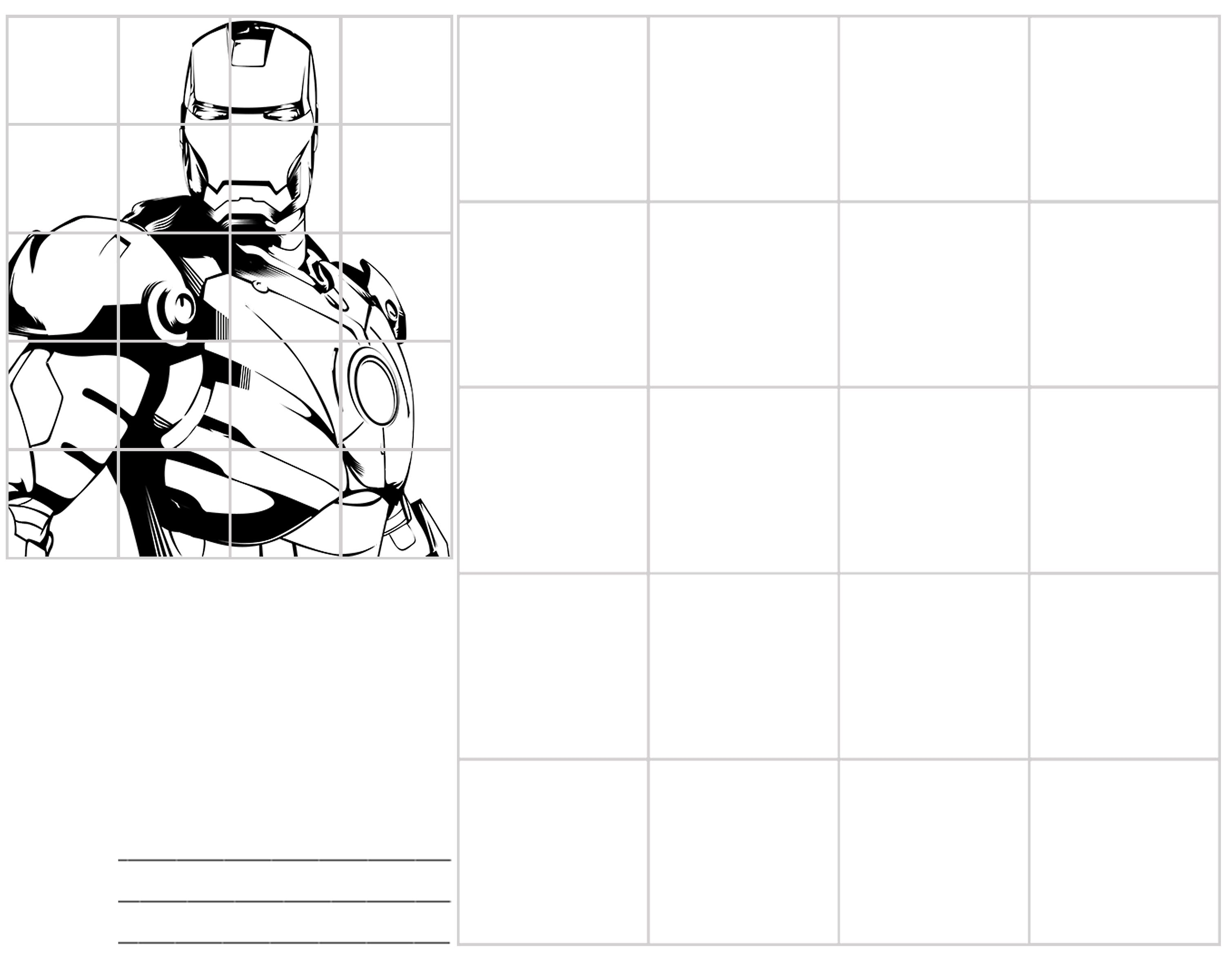 Art Grid Worksheet Kid Ironman Suit