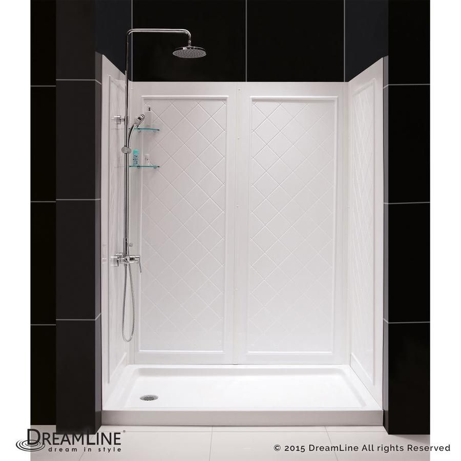 Dreamline Shower Base And Back Walls White 2 Piece Alcove Shower Kit Common 36 In X 60 In Actual 76 75 In X 36 In Alcove Shower Kits Dreamline Shower Base