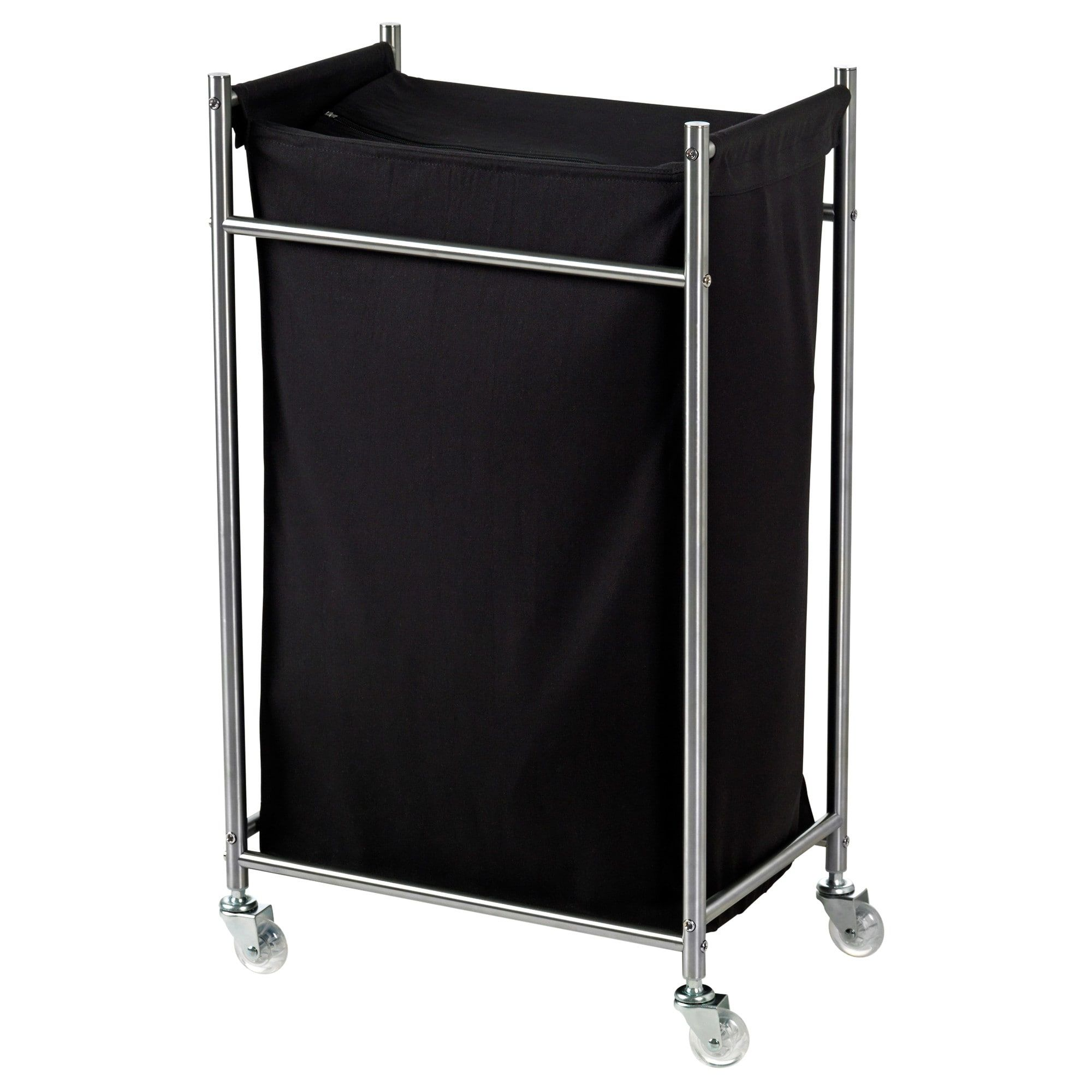 GRUNDTAL Laundry Bin With Casters, Stainless Steel, Black