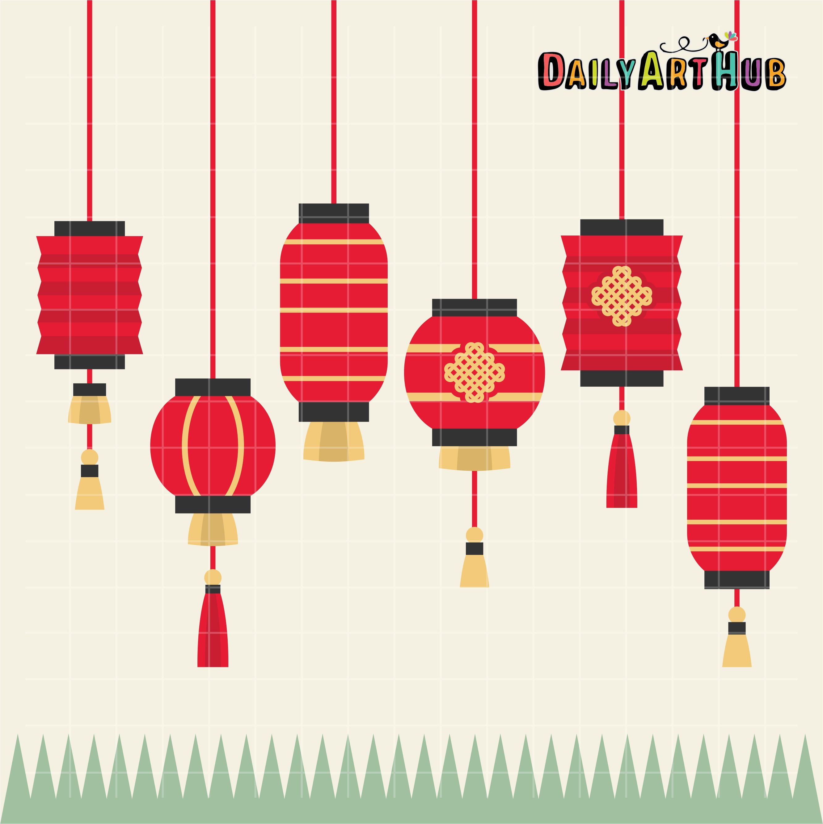 Free Chinese Lanterns Clip Art Set Japanese Quilts Chinese Lanterns Asian Quilts