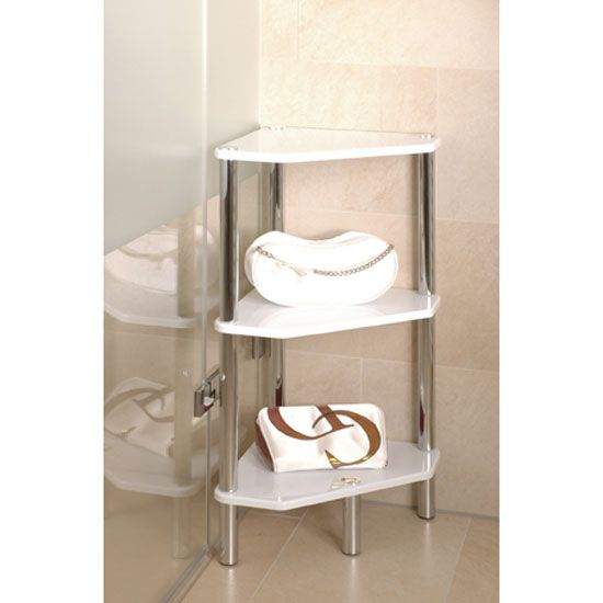 Maine 3 Tier Corner Display Unit In High Gloss White