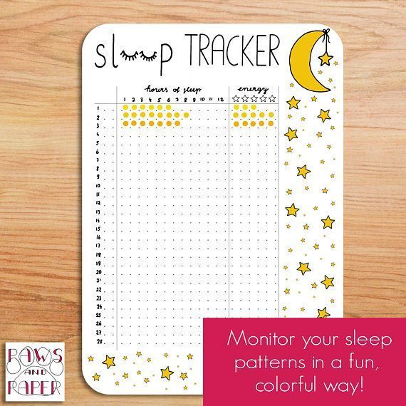 Printable sleep tracker for 28 days. Undated insert for your Bullet Journal, planner, or sleep journal.