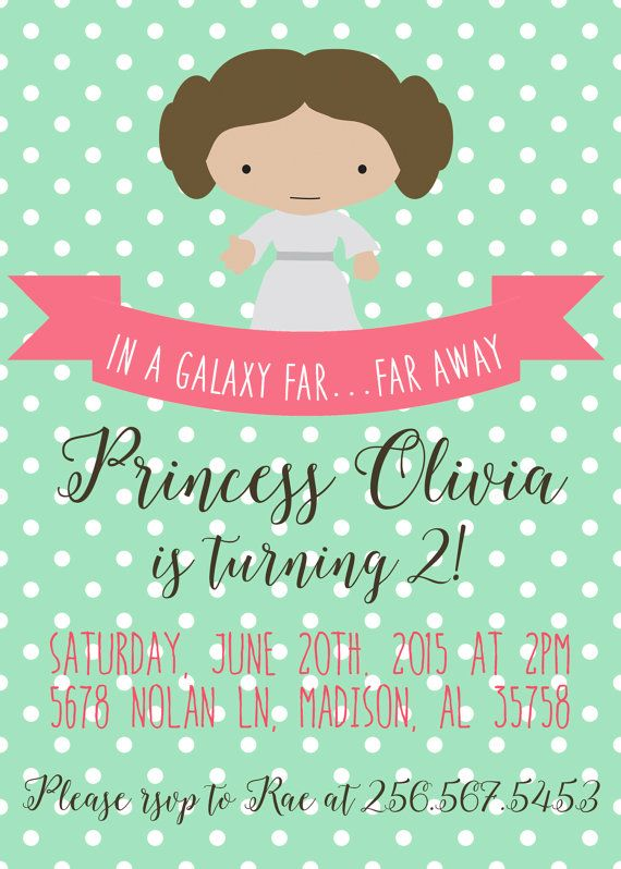 Princess Leia Birthday Invitation By AlabamaBelleDesigns On Etsy