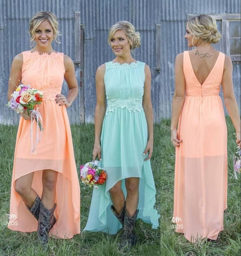 2018 New Cheap Country Bridesmaid Dresses Bateau Backless High Low Chiffon  Coral Mint Green Beach Maid Of Honor Dress For Wedding Party Prom Brides  Maid ... cf7ab084e1ad