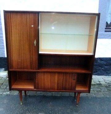 Meuble armoire vitrine vintage placage acajou années 1960 design ...