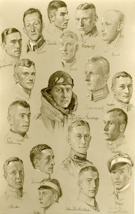 beatonna: vintagephotos18: Portrait drawing of Jasta 11 pilots by Arnold Busch, July 1917. beautiful drawings