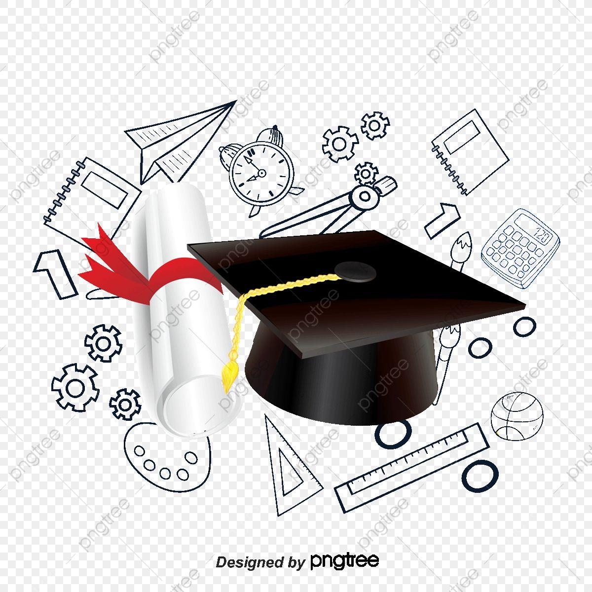 Educational Background Element Dr Cap Diplomas Graduation Png