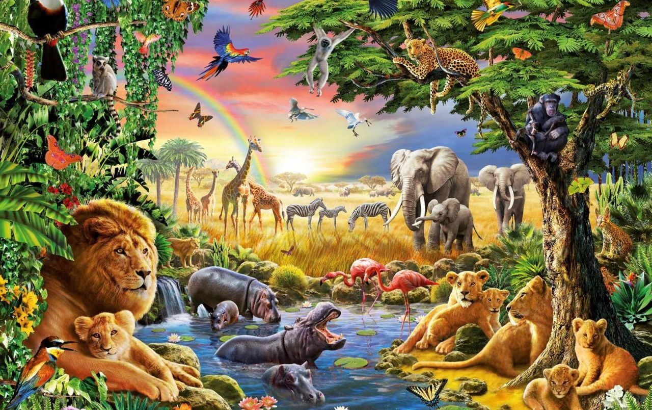Jungle Animals Four Wallpapers En 2020 Pinturas De Animales Pinturas Paisajes Con Animales