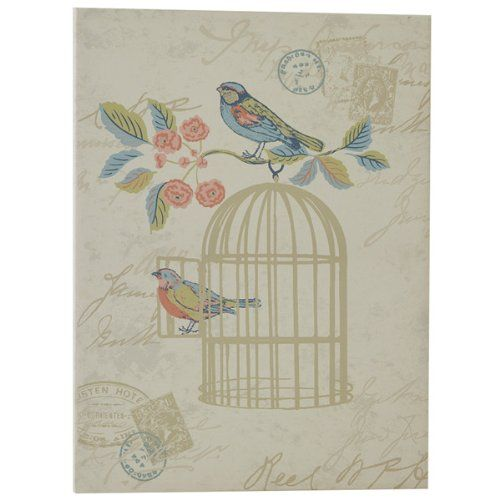 iLiv Shabby Chic Song Bird Canvas Wall Art, Eau De Nil: Amazon.co.uk: Kitchen & Home
