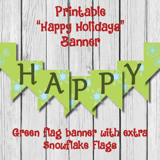 graphic about Happy Holidays Banner Printable identified as Printable Content Vacations Flag Banner by means of BarnesInvitations upon