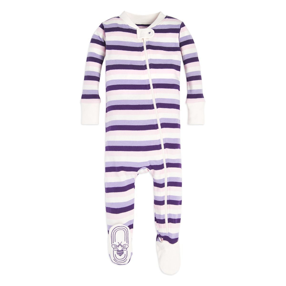 18423571b Multi Stripe Organic Baby Zip Up Footed Pajamas