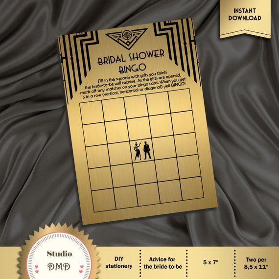 printable bingo bridal shower game card template  great