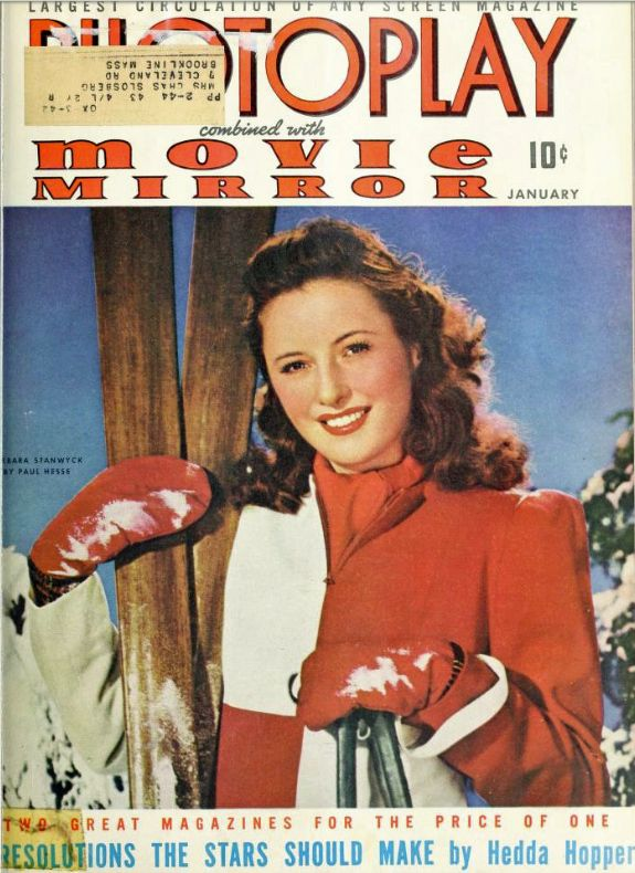 """Barbara Stanwyck (1907-1990) on the cover of """"""""Photoplay-Movie Mirror"""""""", March 1942, photograph by Paul Hesse"""