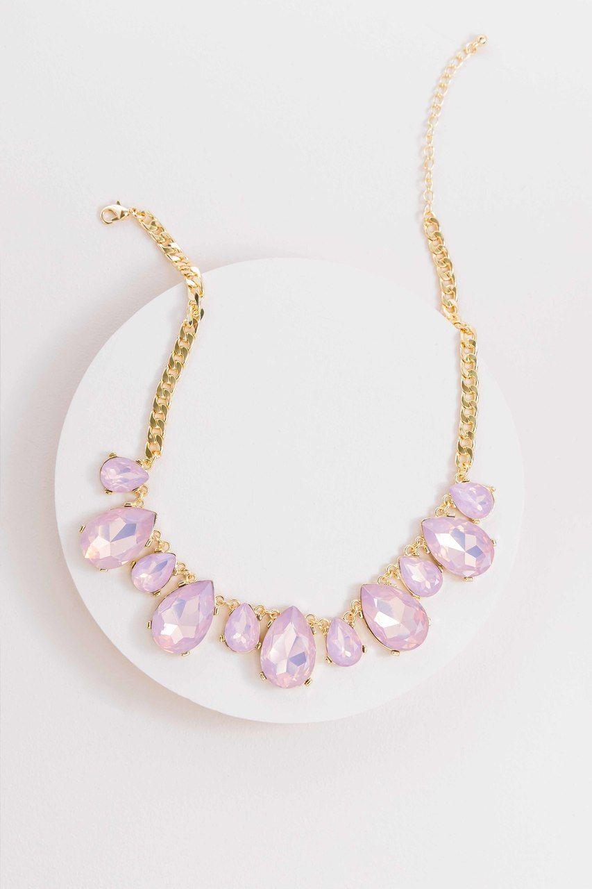 sterling silver chain Light Rose Pink Crystal Briolette Teardrop Necklace